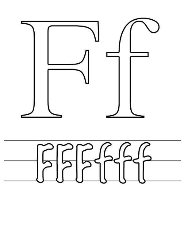 Letter F Coloring Pictures : Letter f worksheet coloring page bulk color