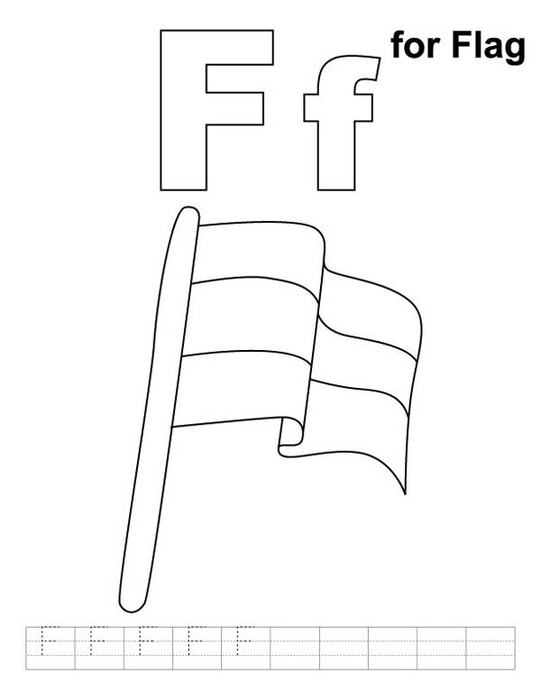 Letter F, : Letter F is for Flag Coloring Page
