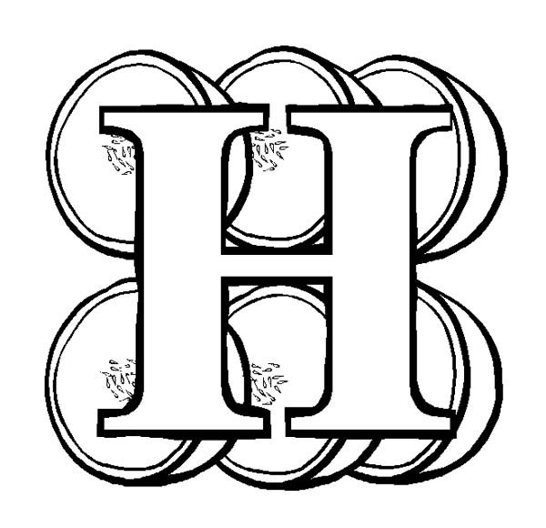 Letter H, : Letter H for Honeydews Coloring Page
