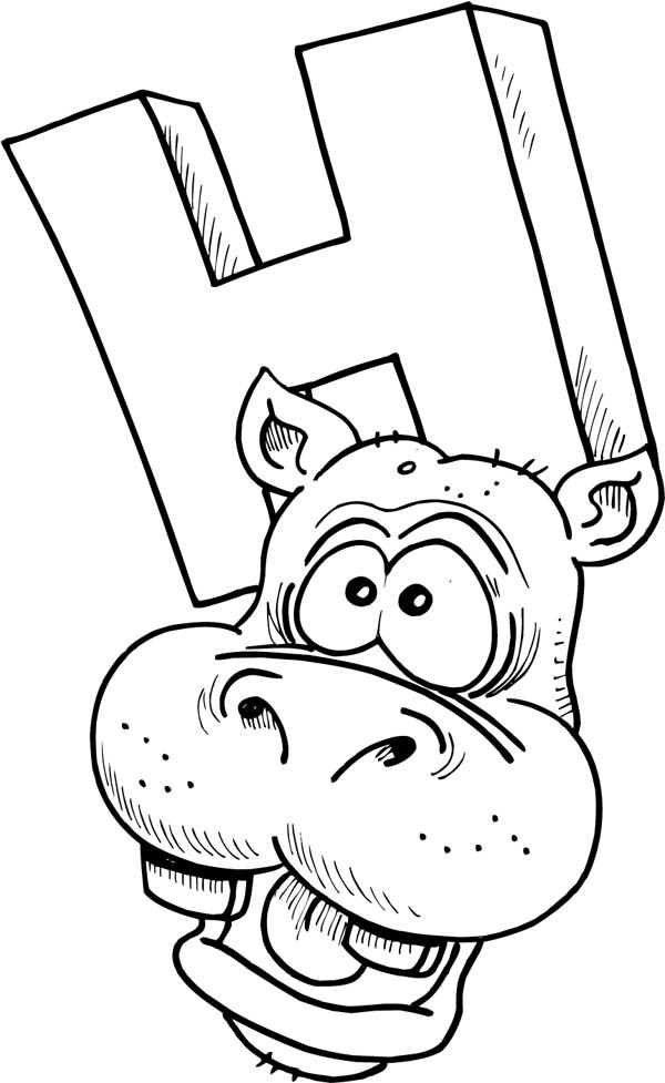 Letter H, : Letter H is for Hippo Coloring Page