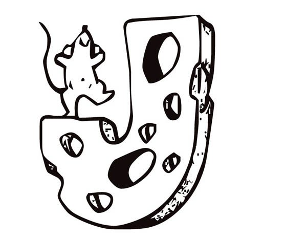 Letter J, : Letter J Cheese Coloring Page
