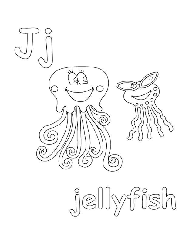 Letter J, : Letter J Coloring Page for Jellyfish