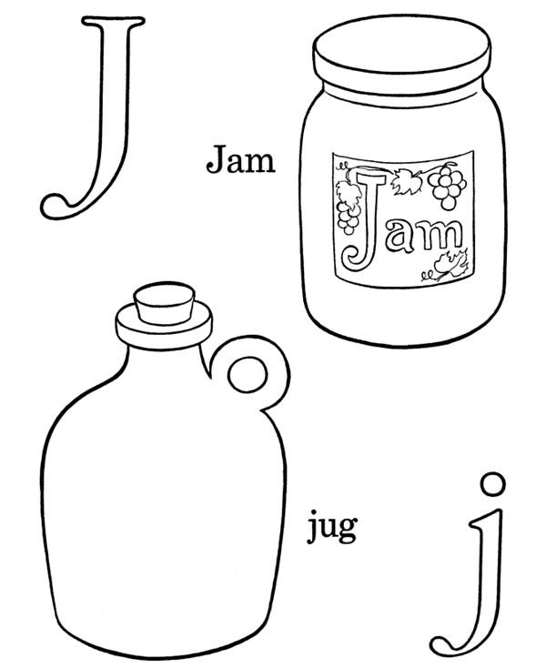 Letter J, : Letter J Words Coloring Page