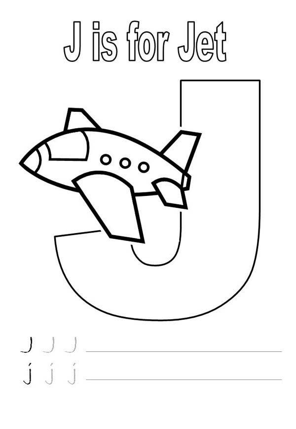 Letter J, : Letter J is for Jet Worksheet Coloring Page