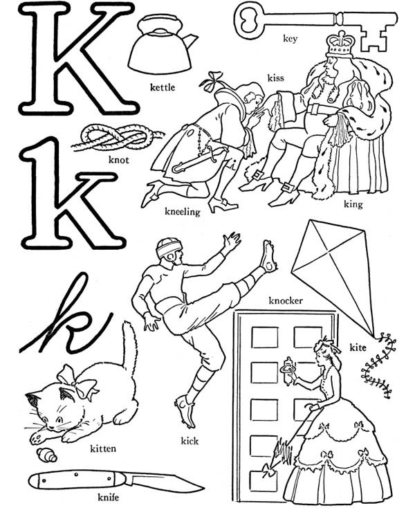 Letter K, : Letter K Words Coloring Page for Kids
