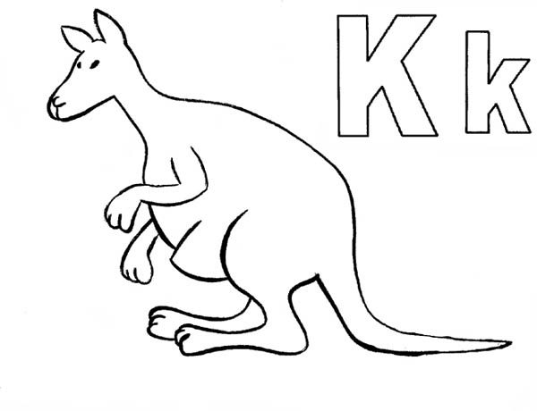 letter k is for kangaroo coloring page