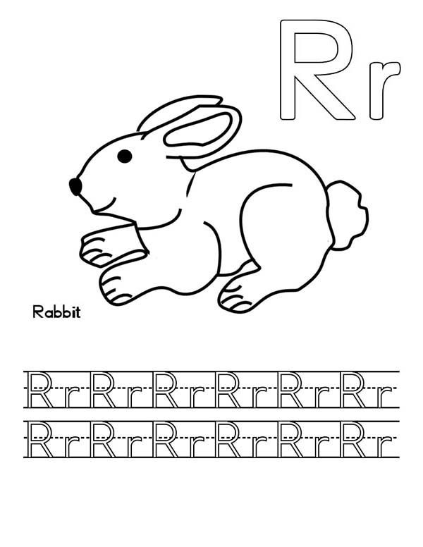 Letter R For Rabbit Worksheet Coloring Page Bulk Color