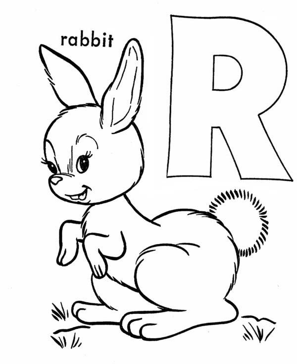 Letter R, : Letter R is for Rabbit Coloring Page