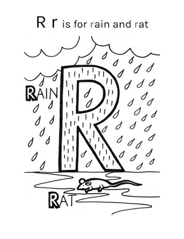 Letter R, : Letter R is for Rain and Rat Coloring Page