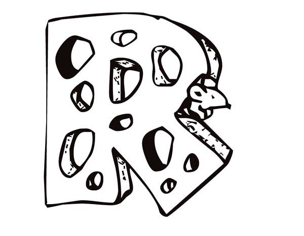 Letter R, : Letter R is for Rat Coloring Page
