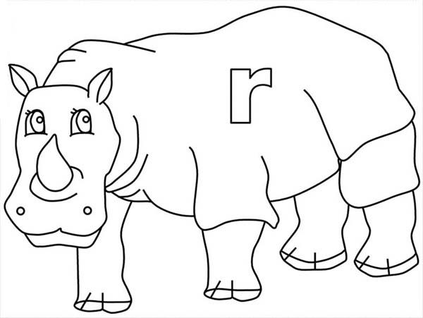 Letter R, : Letter R is for Rhino Coloring Page