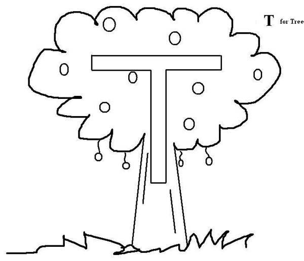 Letter T, : Letter T fro Tree Coloring Page