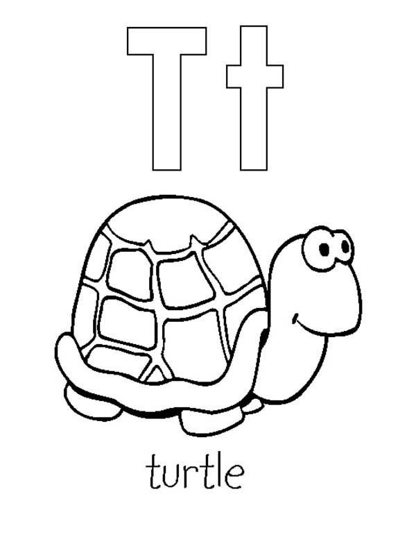 Letter T, : Letter T is for Turtle Coloring Page