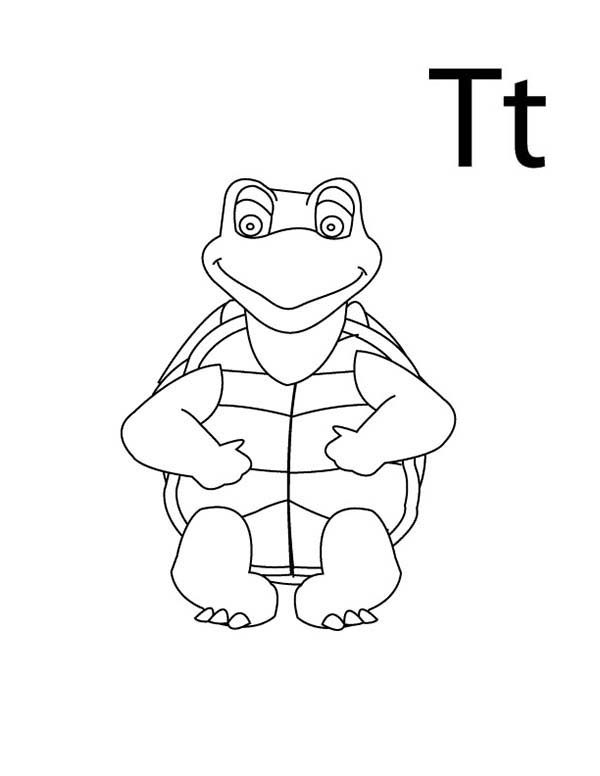 Letter T, : Letter T is for Turtle Coloring Page for Kindergarden Kids