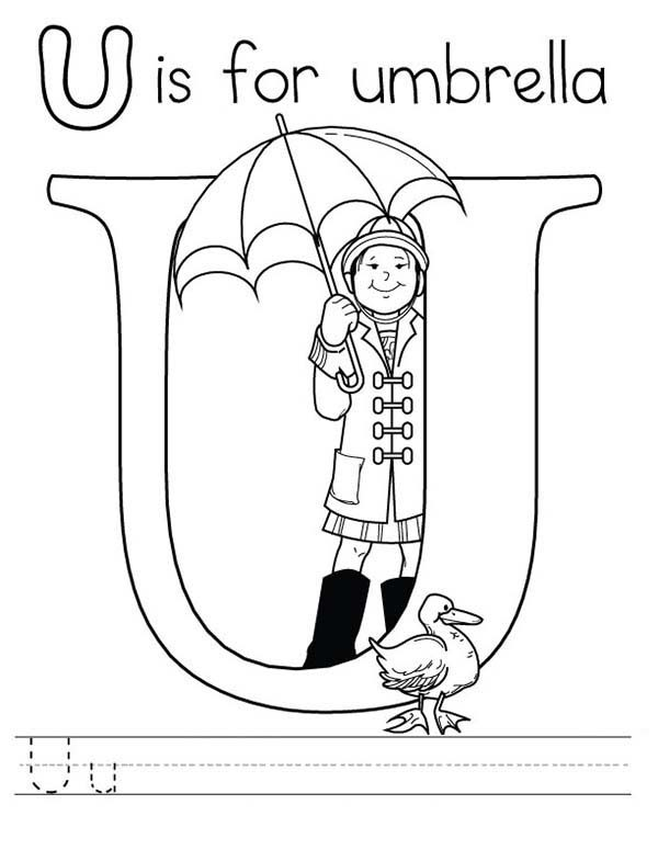 letter u is for umbrella coloring page preschool kids