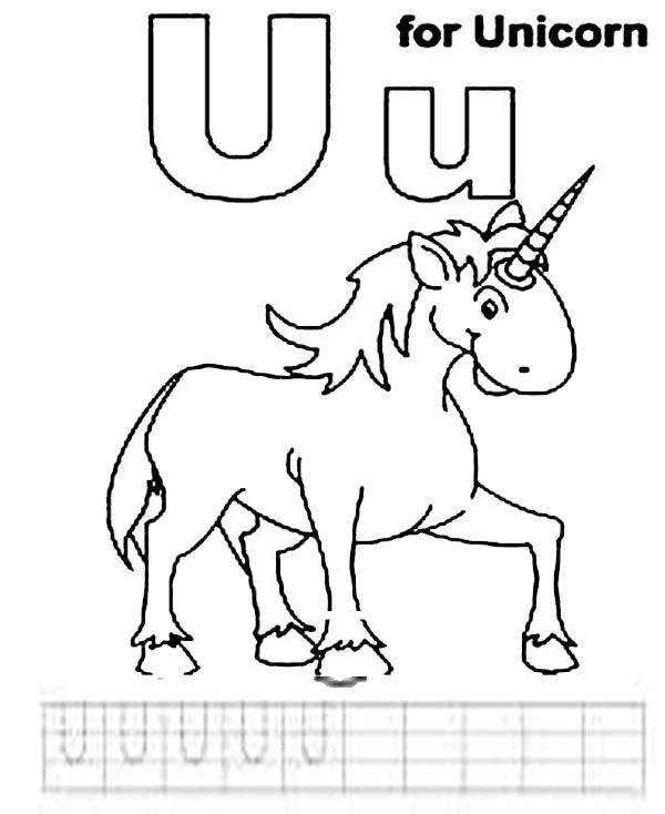 Letter U, : Letter U is for Unicorn Coloring Page