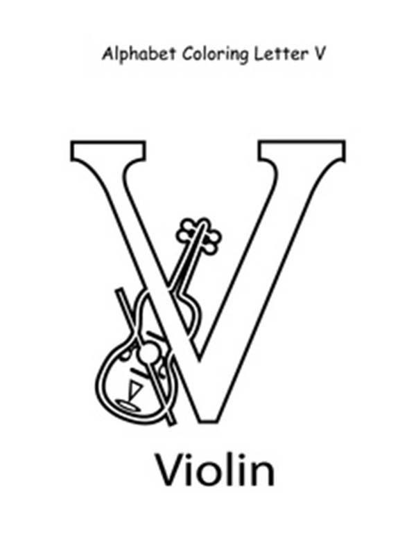 Letter V, : Letter V for Violin Coloring Page