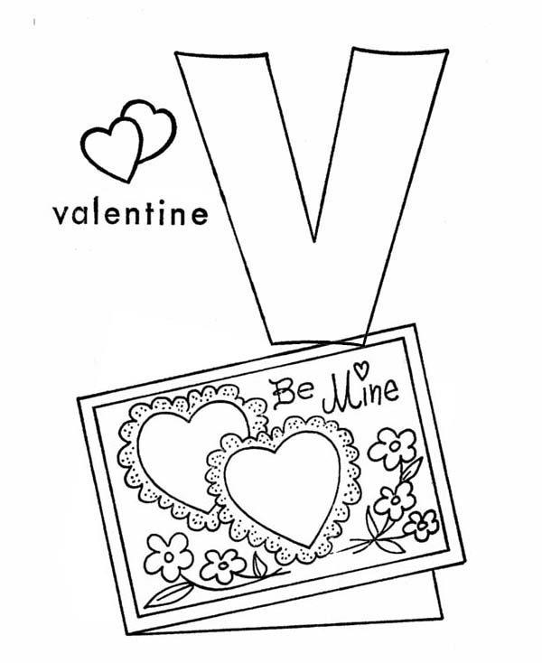 Letter V, : Letter V is for Valentine Coloring Page