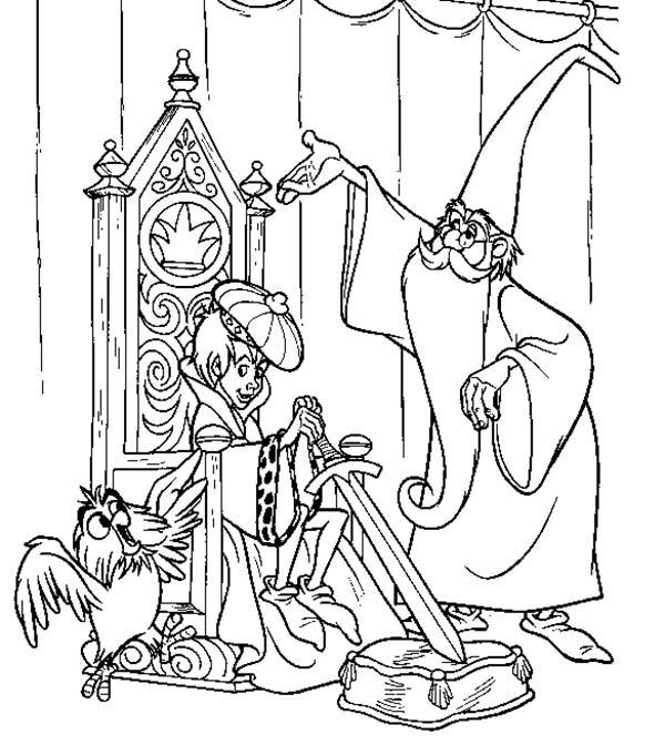Merlin the Wizard, : Little King ang His Advisor Merlin the Wizard Coloring Pages