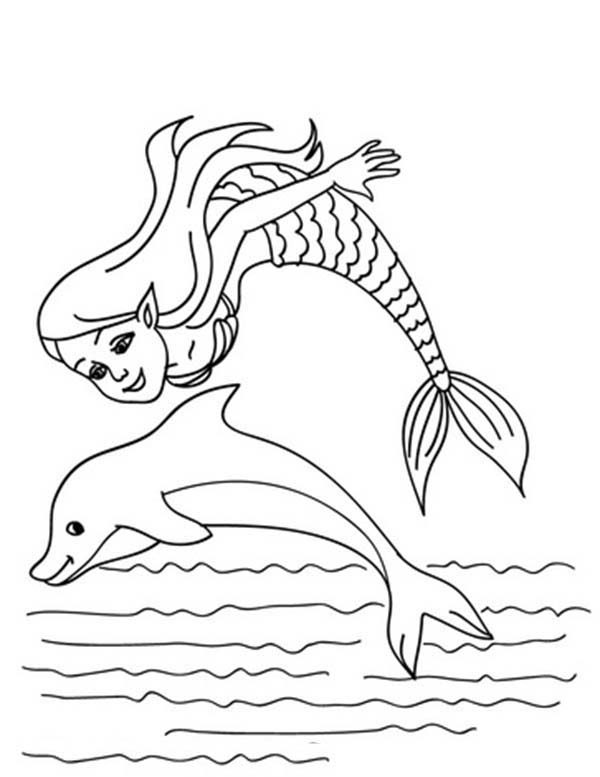 Mermaid, : Little Mermaid Jumping with Dolphin Coloring Pages