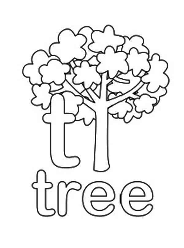 Letter T, : Lower Case Letter T for Tree Coloring Page