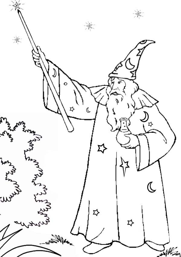 Merlin the Wizard, : Magic Wand of Merlin the Wizard Coloring Pages