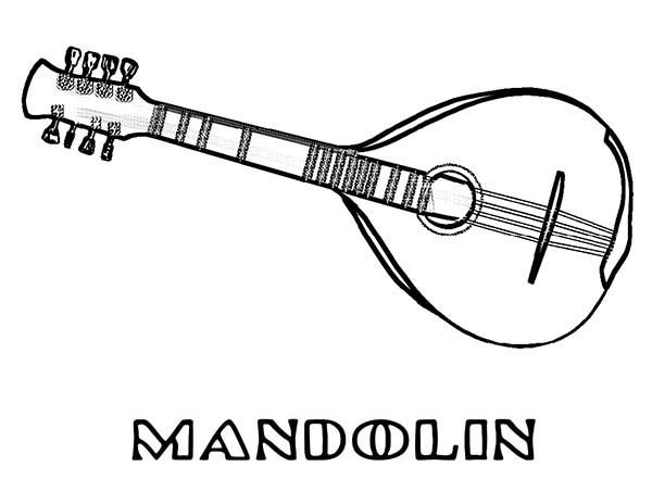 Musical Instruments, : Mandolin is a Musical Instruments Coloring Pages