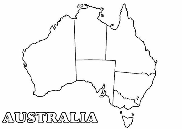 Maps, : Maps of Australia Continental Coloring Pages