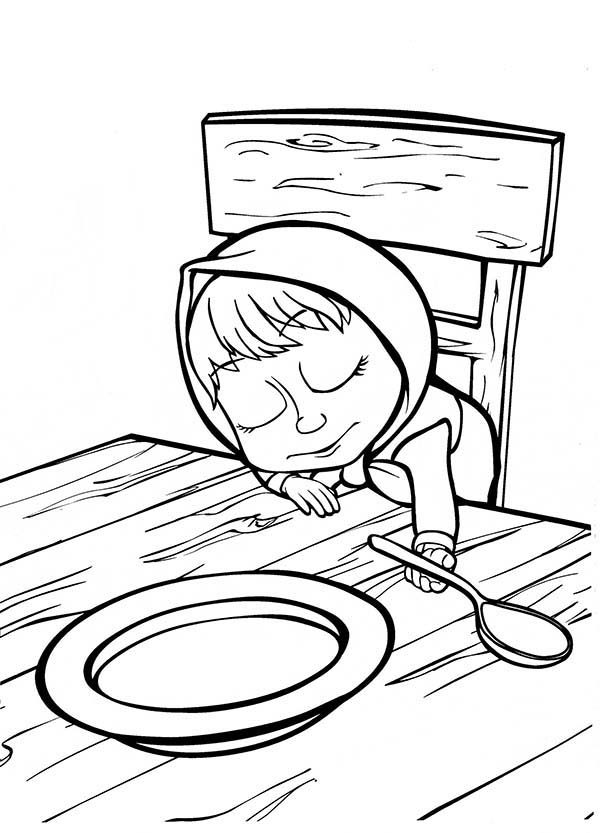 Mascha and Bear, : Mascha Fell Asleep with Spoon in Her hand in Mascha and Bear Coloring Pages
