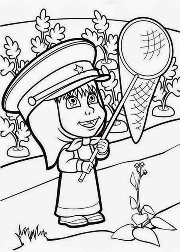 Mascha and Bear, : Mascha Holding a Net in Mascha and Bear Coloring Pages