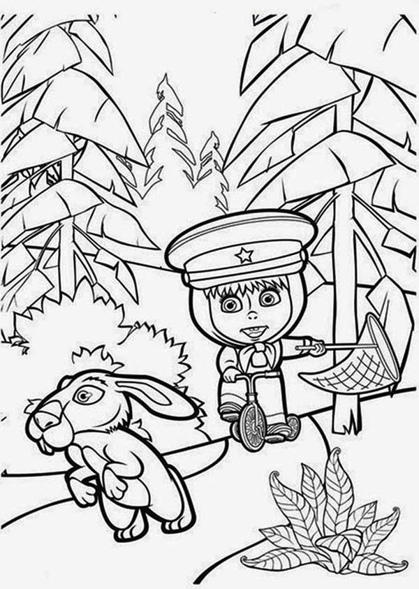 Mascha and Bear, : Mascha Playing with Rabbit in Mascha and Bear Coloring Pages