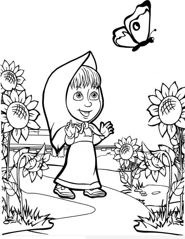 Mascha and Bear, : Mascha Saw Butterfly at Sunflower Garden in Mascha and Bear Coloring Pages