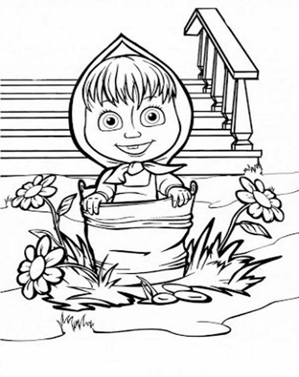 Mascha and Bear, : Mascha Walking with Bucket in Mascha and Bear Coloring Pages