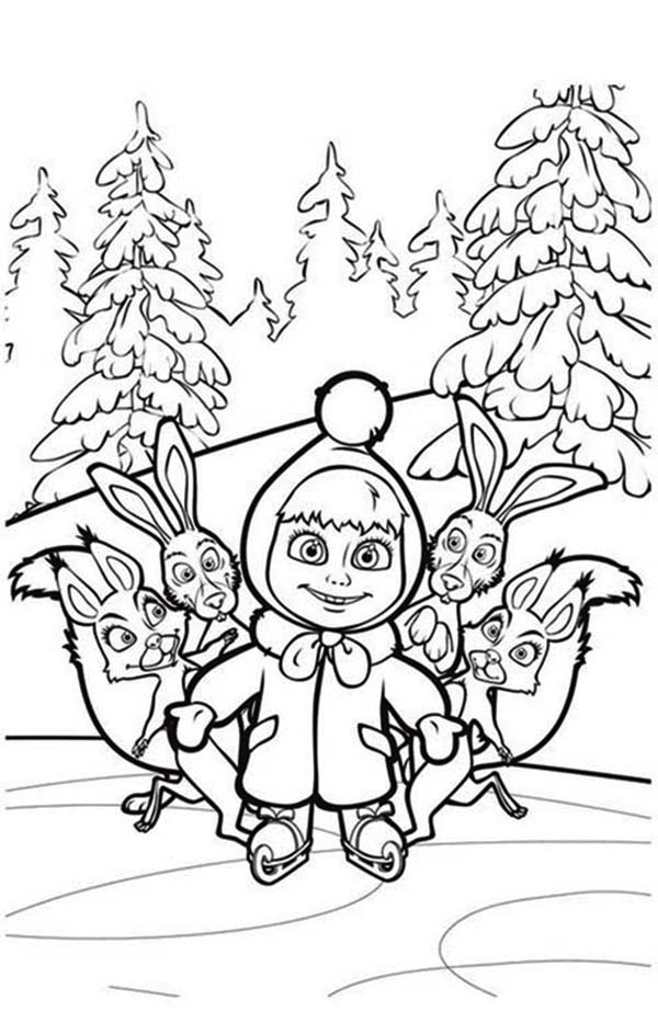 Mascha and Bear, : Mascha and Friends in Mascha and Bear Coloring Pages