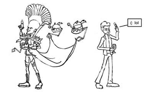 Megamind, : Megamind Copying Bernard Coloring Pages