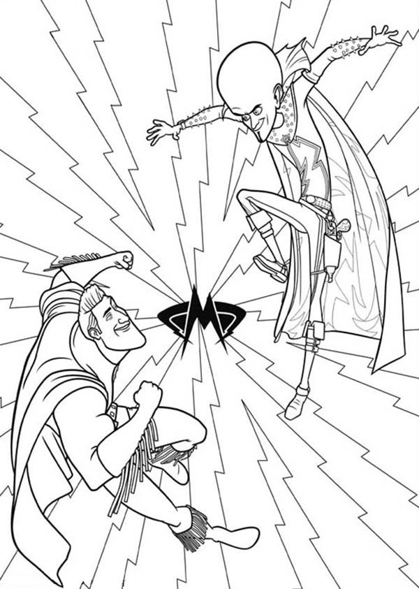Megamind, : Megamind Duel with Metroman Coloring Pages