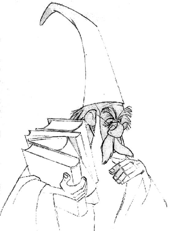 Merlin the Wizard, : Merlin the Wizard Thinking Hard While Holding Books Coloring Pages