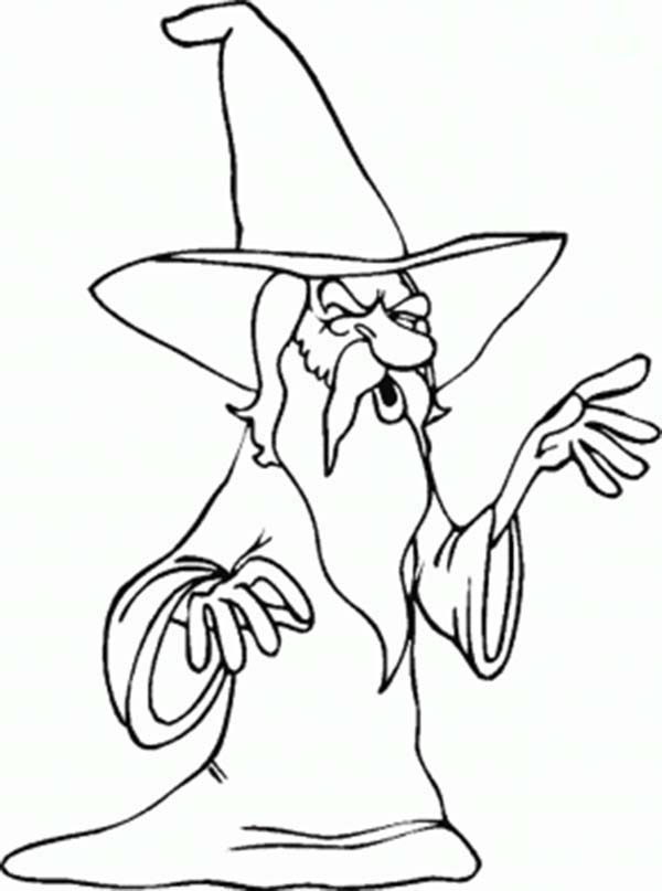 Merlin the Wizard, : Merlin the Wizard with Long White Beard Coloring Pages