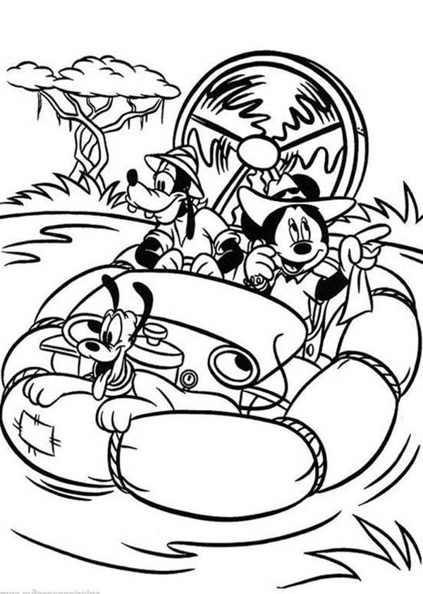 Mickey Mouse Safari, : Mickey Mouse Safari Coloring Pages Adventure in the Wild River