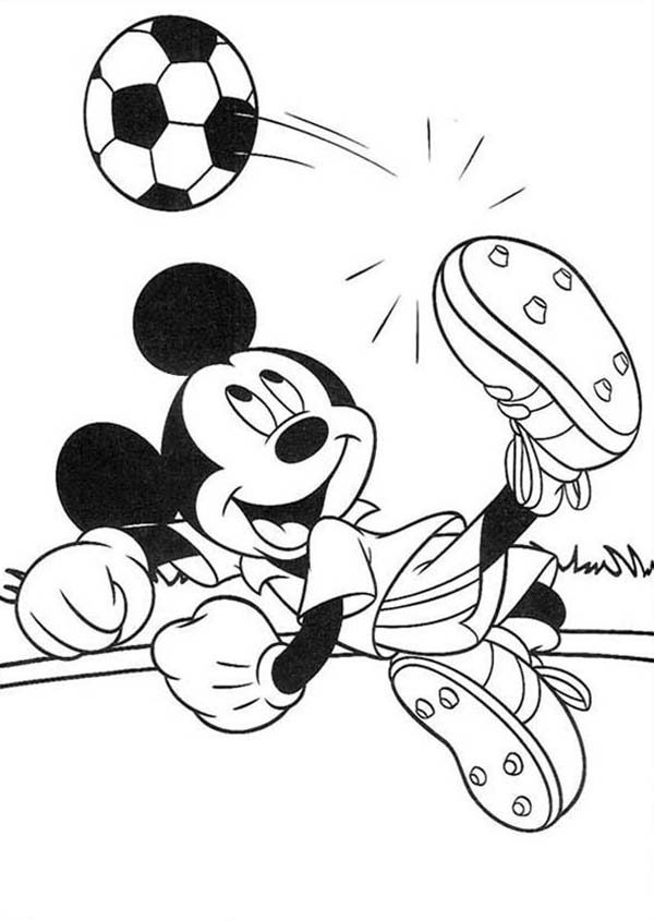 Mickey Mouse Safari Coloring Pages Mickey Trying to Score a Goal ...