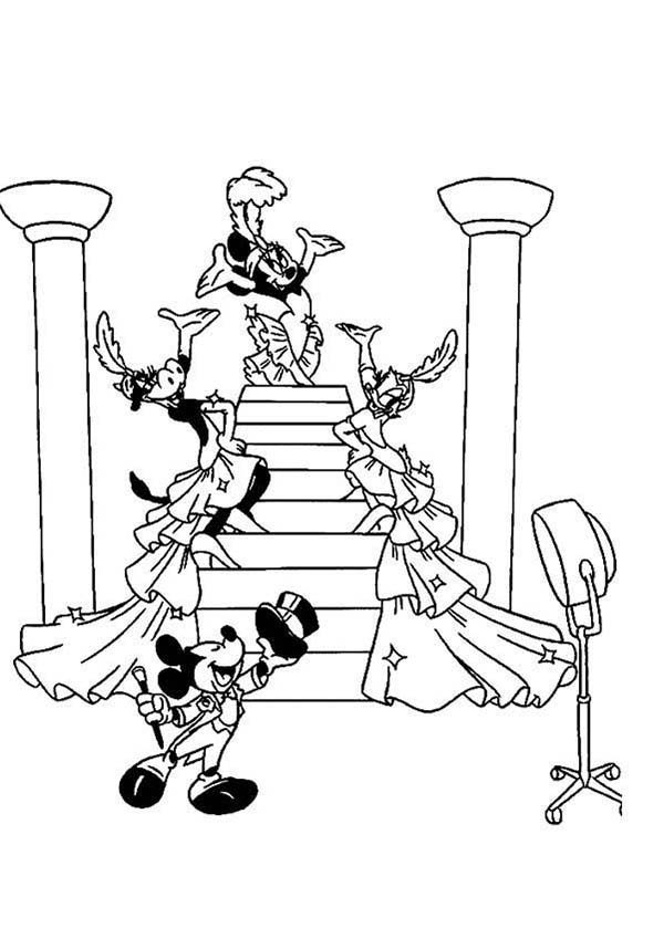Mickey Mouse Safari, : Mickey Mouse Safari Coloring Pages with Friends Dance at Party