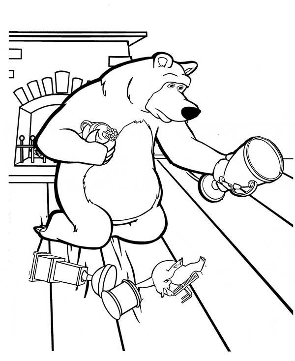Mascha and Bear, : Mischa Collecting His Trophy on the Floor in Mascha and Bear Coloring Pages