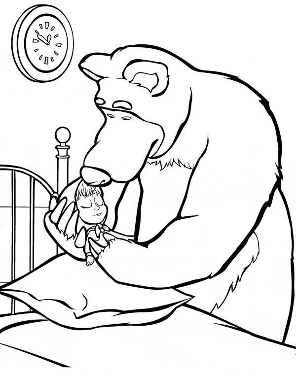 Mascha and Bear, : Mischa Put Mascha on Bed in Mascha and Bear Coloring Pages