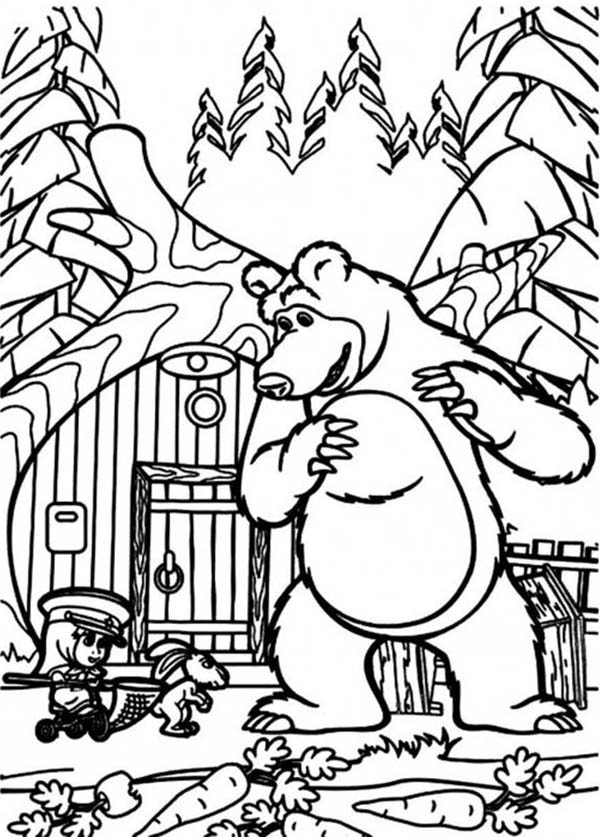 Mascha and Bear, : Mischa and Mascha Hanging Out with a Rabbit in Mascha and Bear Coloring Pages