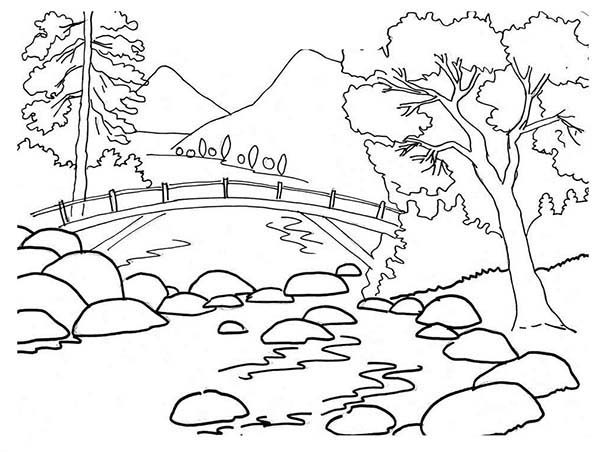 Mountains and River Landscapes Coloring Pages Bulk Color
