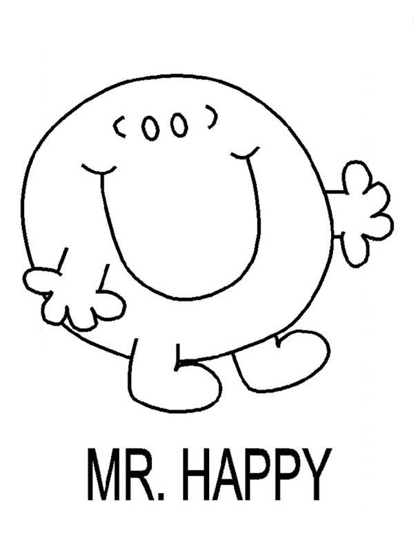 Mr Men and Little Miss, : Mr Happy Walking in Mr Men and Little Miss Coloring Pages