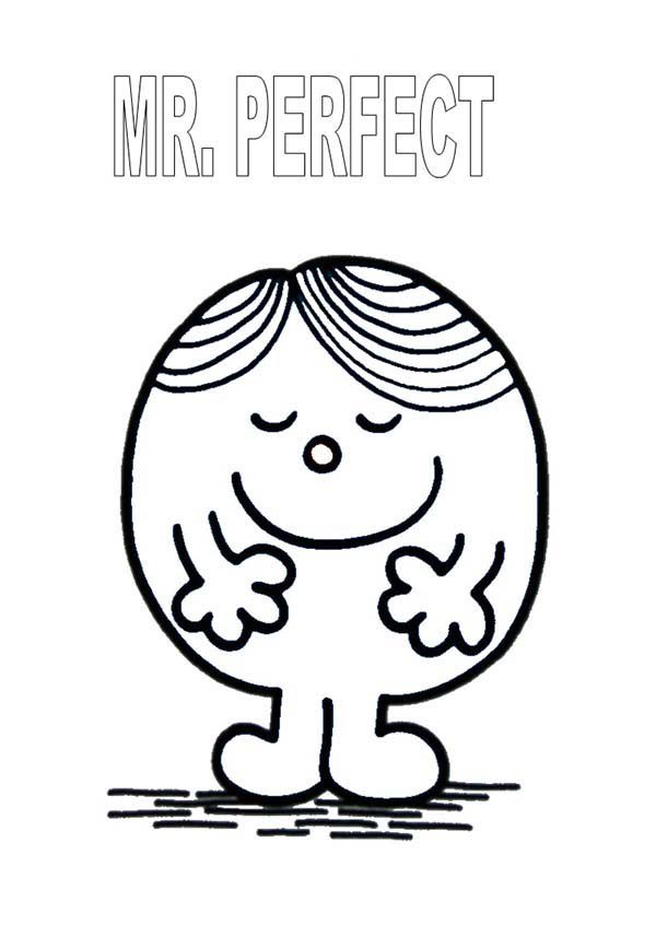 Mr Men and Little Miss, : Mr Perfect is so Handsome in Mr Men and Little Miss Coloring Pages