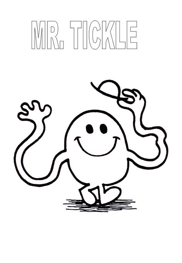 Mr Men and Little Miss, : Mr Tickle Rise His Hat in Mr Men and Little Miss Coloring Pages