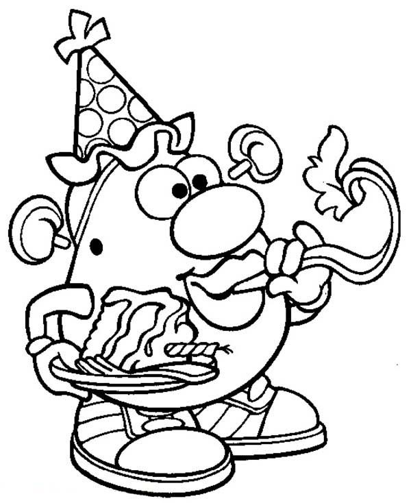 mr potato head blow birthday trumpet coloring pages