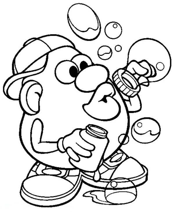 Mr. Potato Head, : Mr. Potato Head Making Bubbles Coloring Pages